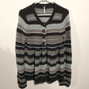 Free People Button Down Babydoll Cardigan Sweater